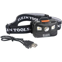 Klein Tools® 56048 -Rechargeable Headlamp with Strap, 400 Lumen All-Day Runtime, Auto-Off